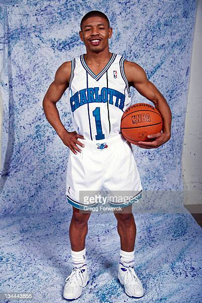 Muggsy Bogues of the Charlotte Hornets posses for portrait at Charlotte Coliseum on December 1 1993 in Charlotte North Carolina NOTE TO USER User...