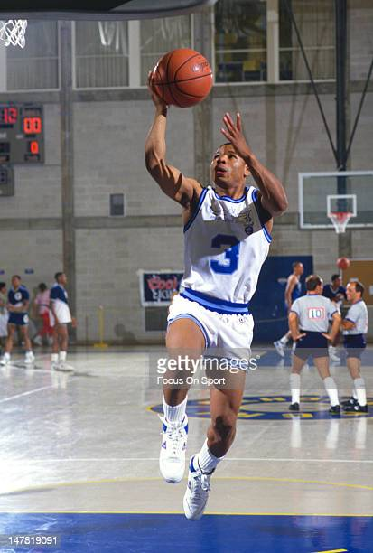 Muggsy Bogues of the Rhode Island Gulls warms up before the start of a USBA basketball game circa 1987 Bogues played for the Gulls in 1987