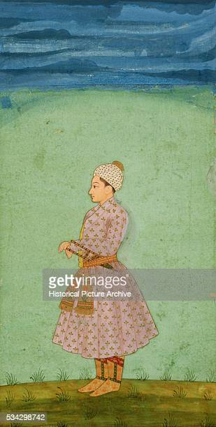 Mughal Miniature Painting Depicting a Boy with a Jeweled Dagger