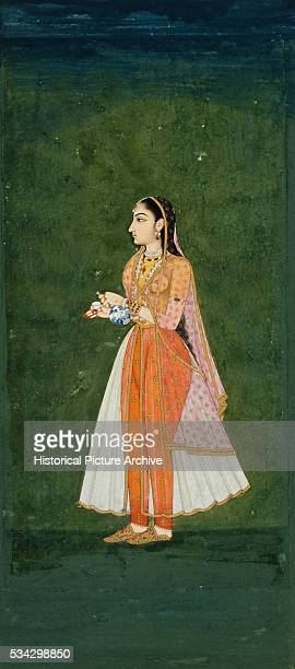 Mughal Miniature Painting Depicting a Lady Holding a Wine Flask and Cup