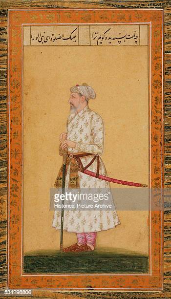Mughal Miniature Painting Depicting a Prince in White Robe with Sword