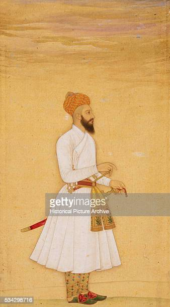 Mughal Miniature Painting Depicting a Standing Noble