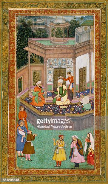 Mughal Miniature Painting Depicting an Elderly Nobleman in Pavilion