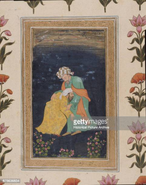Mughal Miniature Painting of a Mullah Bowing Down to a Man in Iranian Dress