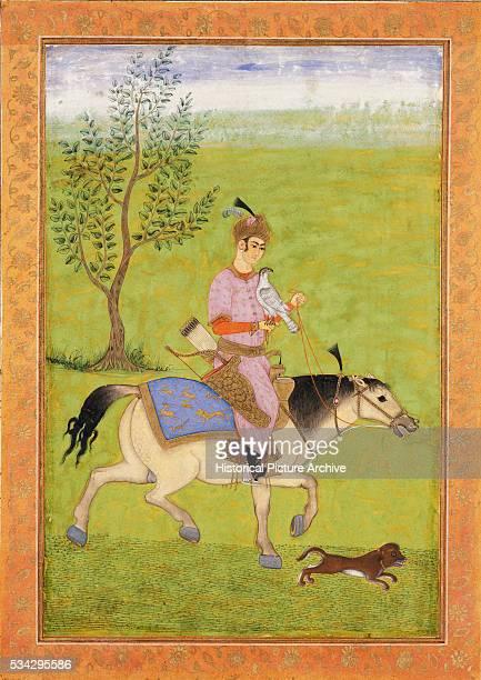 Mughal Miniature Painting of an Iranian Prince Hawking on Horseback