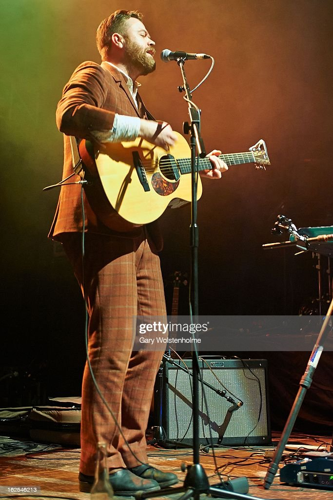 Mugison performs on stage at Manchester Academy on February 24, 2013 in Manchester, England.