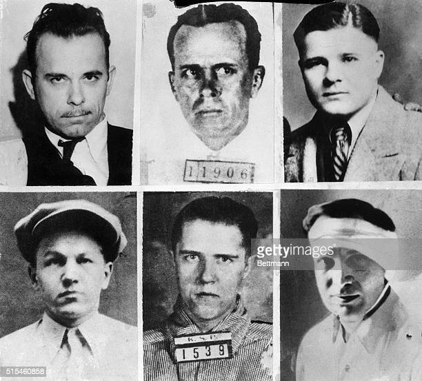 Mugshots of the FBI's most wanted criminals in 1934 Clockwise from top left John Dillinger Arthur Barker Charles 'Pretty Boy' Floyd Homer Van Meter...
