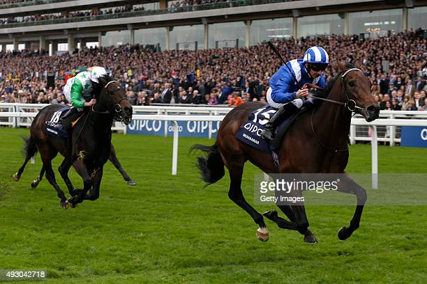 Muhaarar ridden by Paul Hanagan leads the field home to win The QIPCO British Champions Sprint Stakes run during the QIPCO British Champions Day at...
