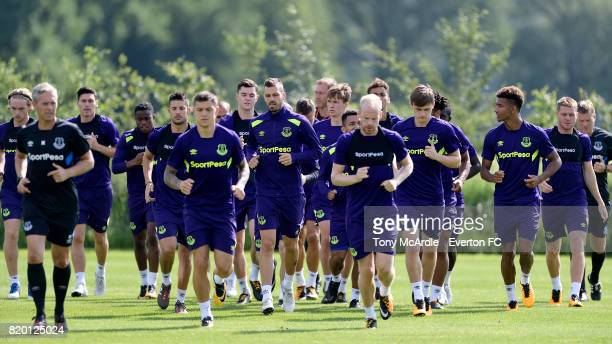 Muhamed Besic and Davy Klaassen during the Everton training session on July 21 2017 in De Lutte Netherlands