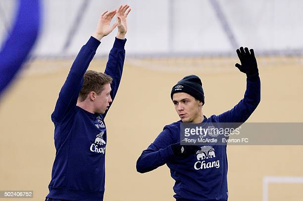 Muhamed Besic and Matthew Pennington during the Everton training session at Finch Farm on December 24 2015 in Halewood England