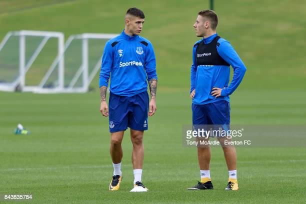 Muhamed Besic and Nikola Vlasic of Everton during the Everton FC training session at USM Finch Farm on September 7 2017 in Halewood England