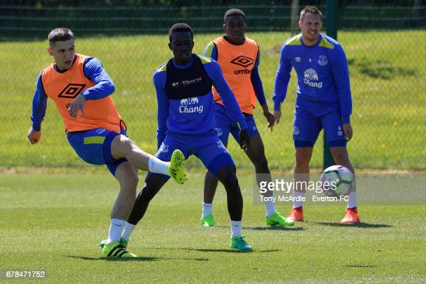 Muhamed Besic Idrissa Gueye Ademola Lookman and Phil Jagielka during the Everton FC training session at USM Finch Farm on May 4 2017 in Halewood...