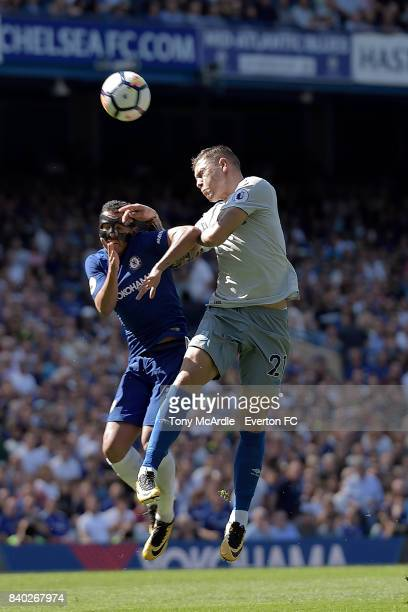 Muhamed Besic of Everton and Pedro of Chelsea challenge for the ball during the Premier League match between Chelsea and Everton at Stamford Bridge...