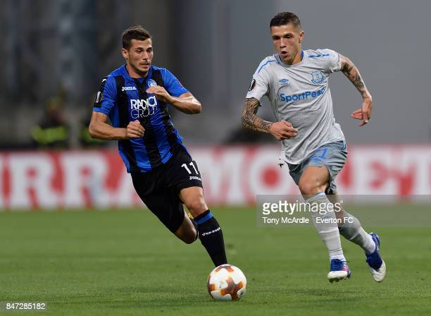 Muhamed Besic of Everton and Remo Freuler during the UEFA Europa League Group E match between Atalanta and Everton at Mapei Stadium on September 14...