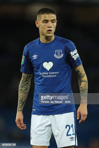 Muhamed Besic of Everton during the Carabao Cup Third Round match between Everton and Sunderland at Goodison Park on September 19 2017 in Liverpool...