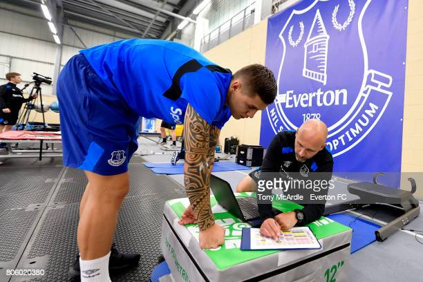 Muhamed Besic of Everton returns to training at USM Finch Farm on July 3 2017 in Halewood England