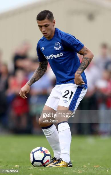 Muhamed Besic of Everton runs with the ball during a preseason friendly match between FC Twente and Everton FC at Sportpark de Stockakker on July 19...