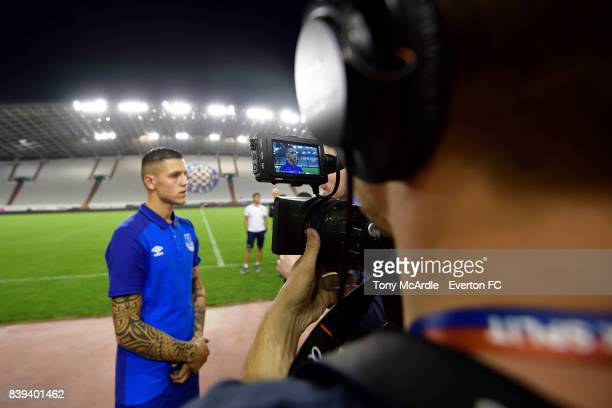Muhamed Besic speaks to the media after the UEFA Europa League Qualifying PlayOffs round second leg between Hajduk Split and Everton on August 24...