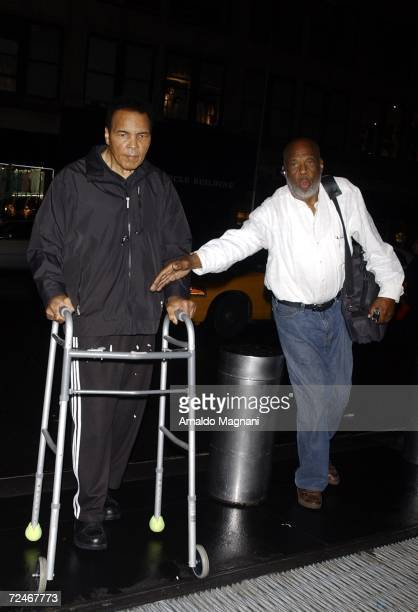 Muhammad Ali and longtime friend and photographer Howard Bingham arrive at their midtown hotel November 8 2006 in New York City