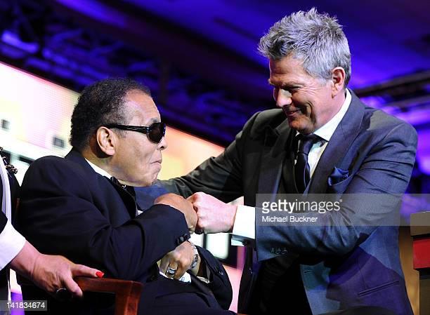 Muhammad Ali and musician David Foster onstage during Muhammad Ali's Celebrity Fight Night XVIII held at JW Marriott Desert Ridge Resort Spa on March...