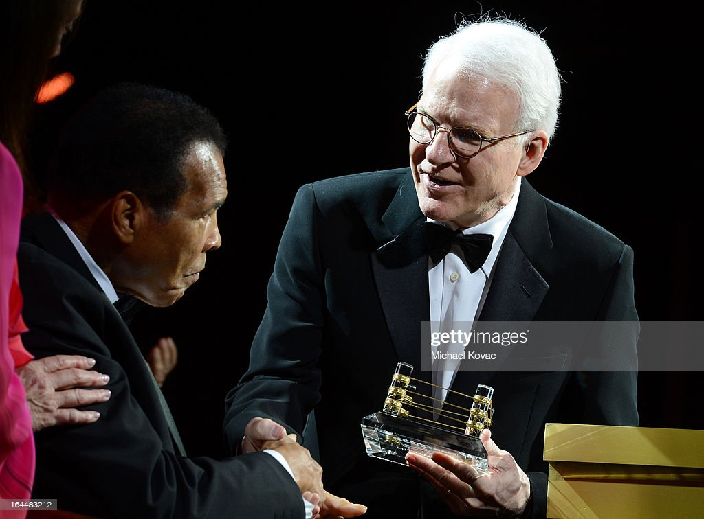 Muhammad Ali and <a gi-track='captionPersonalityLinkClicked' href=/galleries/search?phrase=Steve+Martin&family=editorial&specificpeople=196544 ng-click='$event.stopPropagation()'>Steve Martin</a> with Moet & Chandon at Celebrity Fight Night XIX at JW Marriott Desert Ridge Resort & Spa on March 23, 2013 in Phoenix, Arizona.