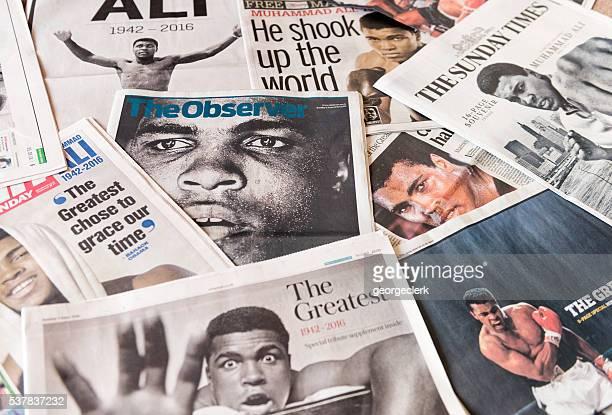Muhammad Ali Sie sich auf britische Zeitung der Seiten