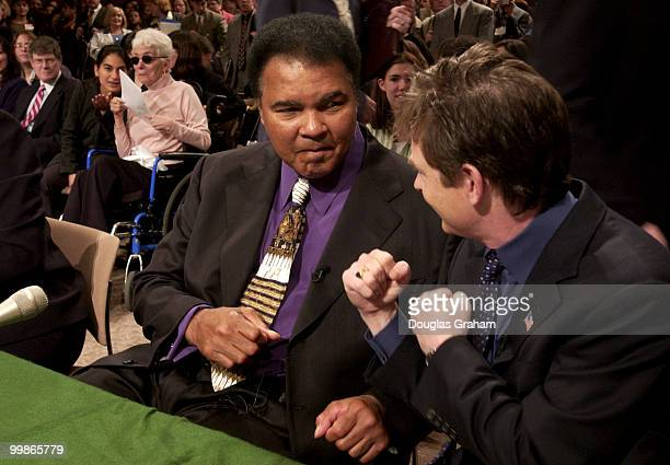 Muhammad Ali former heavyweight boxing champion and Michael Fox actor/founder Michael Fox Foundation for Parkinson's Research ham it up for the...