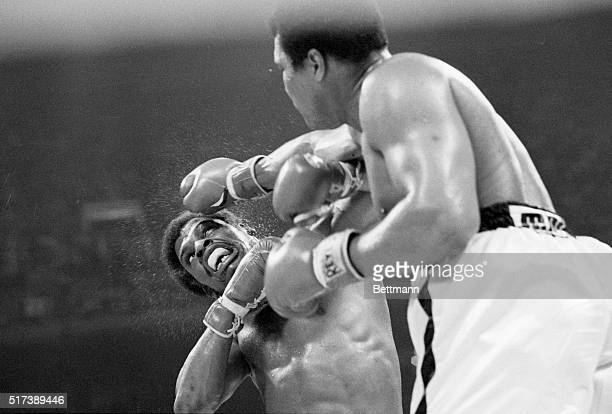 Muhammad Ali punches Leon Spinks during their world heavyweight title match on September 15 at the Louisiana Superdome in New Orleans Louisiana USA