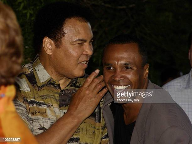 Muhammad Ali Sugar Ray Leonard during Holly Robinson Peete Rodney Peete and Mercedes Benz Honor Muhammad Ali With The Designcure Award of Courage at...