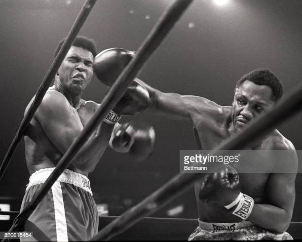 Muhammad Ali takes a hit from Joe Frazier during their heavyweight match in Madison Square Garden March 8 1971 Frazier won the 15round battle by a...