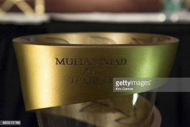 Muhammad Ali Trophy is photographed before a press conference to announce the World Boxing Super Series at The Pierre Hotel on March 9 2017 in New...