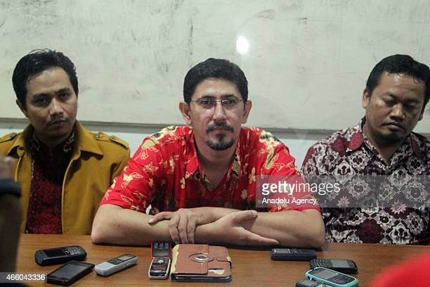 Muhammad Arif member of the family of Indonesian citizens missing in Turkey answers questions during a press conference in Surakarta Central Java...