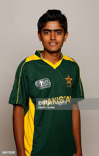 Muhammad Babar Azam of Pakistan poses for a portrait ahead of the ICC U19 Cricket World Cup at Crowne Plaza on January 10 2010 in Christchurch New...