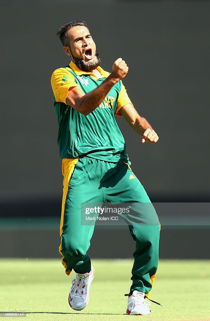 Muhammad Imran Tahir of South Africa celebrates getting the wicket of Lahiru Thirimanna of Sri Lanka during the 2015 ICC Cricket World Cup match between South Africa and Sri Lanka at Sydney Cricket Ground on March 18, 2015 in Sydney, Australia.