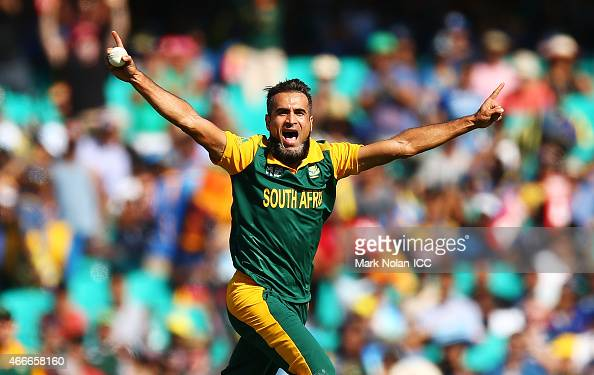 Muhammad Imran Tahir of South Africa celebrates getting the wicket of Lahiru Thirimanna of Sri Lanka during the 2015 ICC Cricket World Cup match...