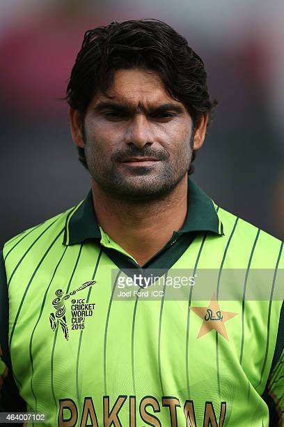 Muhammad Irfan of Pakistan during the 2015 ICC Cricket World Cup match between Pakistan and the West Indies at Hagley Oval on February 21 2015 in...