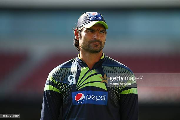 Muhammad Irfan of Pakistan looks on during a Pakistan nets session at Adelaide Oval on March 19 2015 in Adelaide Australia