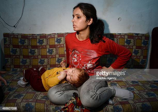 Muhammad Khalef 15 years old Syrian refugee toddler and his pregnant mother Loren Khalef are seen at the home of a relative in Izmir Turkey on...