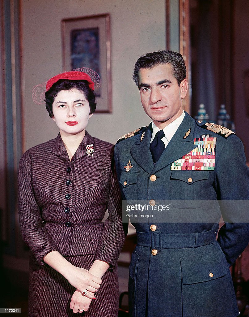 Muhammad Reza Pahlavi the Shah of Iran poses with his second wife Queen Soraya whom he divorced for failing to produce an heir 1958 Soraya Esfandiari...