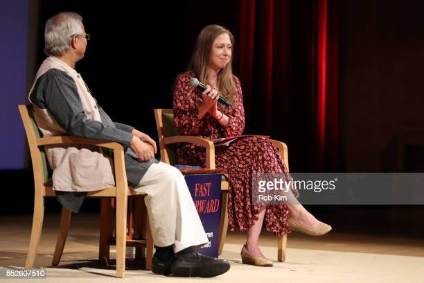 Muhammad Yunus and Chelsea Clinton attend Fast Forward Women's Innovation Forum at The Metropolitan Museum of Art on September 23 2017 in New York...