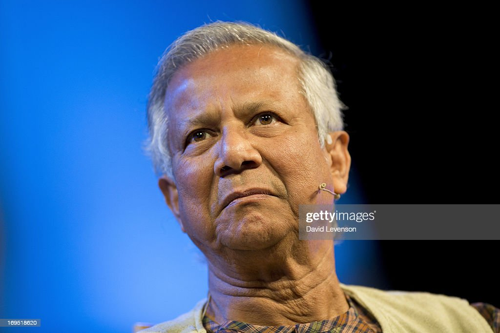 <a gi-track='captionPersonalityLinkClicked' href=/galleries/search?phrase=Muhammad+Yunus&family=editorial&specificpeople=634405 ng-click='$event.stopPropagation()'>Muhammad Yunus</a>, Nobel Peace Prize winner, attends The Telegraph Hay festival at Dairy Meadows on May 26, 2013 in Hay-on-Wye, Wales.