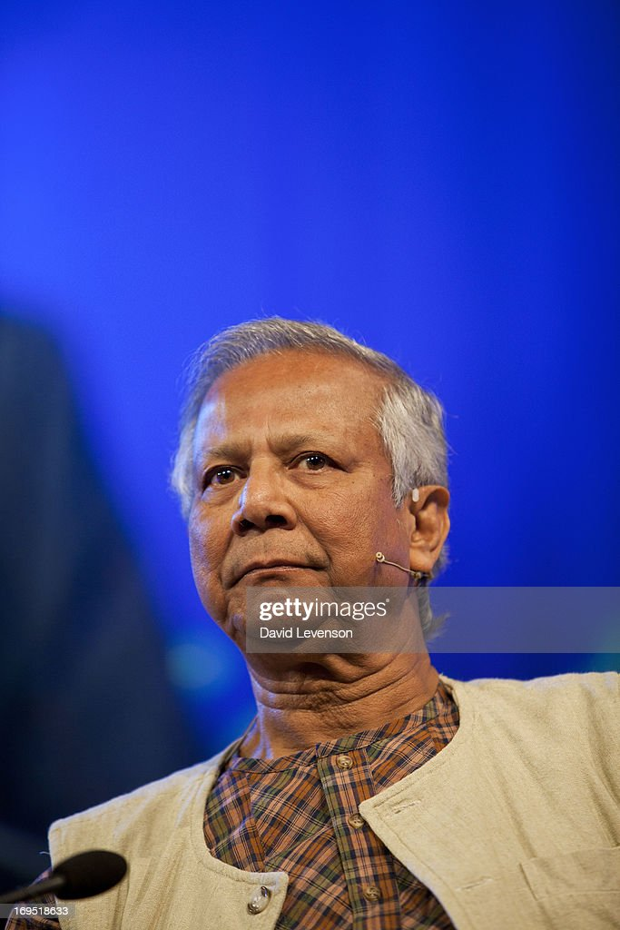 Muhammad Yunus, Nobel Peace Prize winner, attends The Telegraph Hay festival at Dairy Meadows on May 26, 2013 in Hay-on-Wye, Wales.