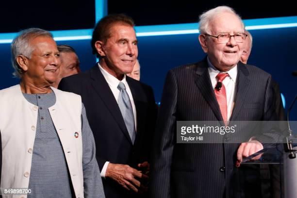 Muhammad Yunus Steve Wynn and Warren Buffett attend the Forbes Media Centennial Celebration at Pier 60 on September 19 2017 in New York City