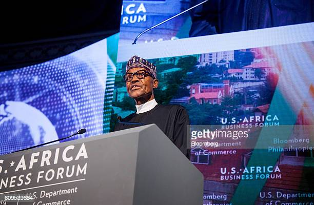 Muhammadu Buhari Nigeria's president speaks during the USAfrica Business Forum in New York US on Wednesday Sept 21 2016 The forum focuses on trade...