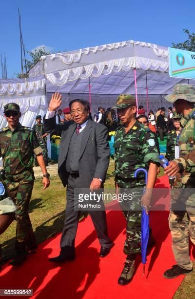 TH Muivah General Secretary of the NagalandIsak Muivah walks out after the 38th Naga Republic Day celebration at the NSCNIM council Headquarter...