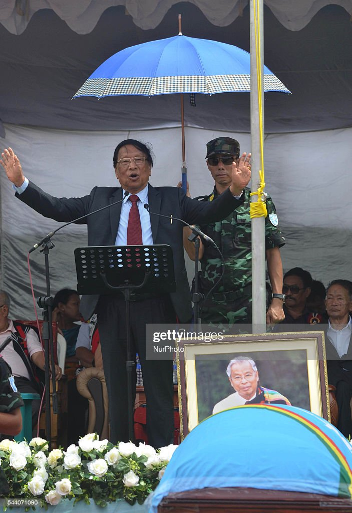 TH Muivah, General Secretary of the National Socialist Council of Nagaland-Isak Muivah (NSCN-IM) speak during the state funeral service to its Chairman Isak Chishi Swu at their council headquarter Hebron, some 40 kms away from Dimapur, India north eastern state of Nagaland on Friday, July 01, 2016. The mortal remain of Swu will be taken to his native village Chishilimi where the last funeral rites will be done on 2nd of June. NSCN-IM was formed in 1980 by Muivah and Swu. The Indian government signed a 'peace treaty with the NSCN-IM in August 2015.