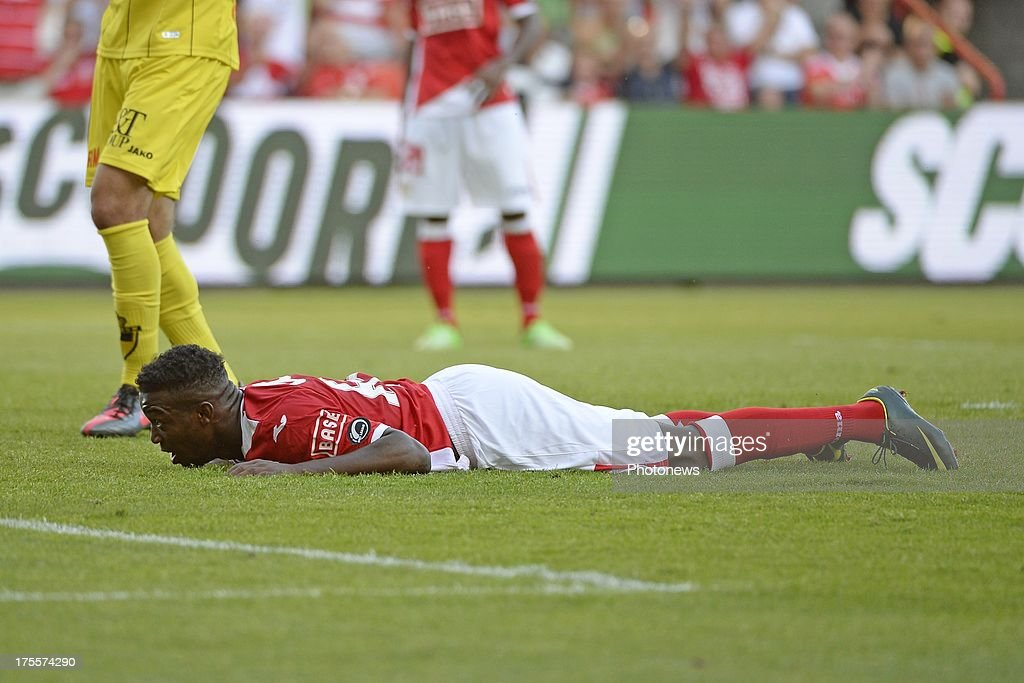 Mujangi Bia of Standard celebrates pictured during the Jupiler League match between Standard Liege and SK Lierse on Augustus 4, 2013 in Liege, Belgium. (Photo by Vincent Kalut & Jimmy Bolcina / Photonews