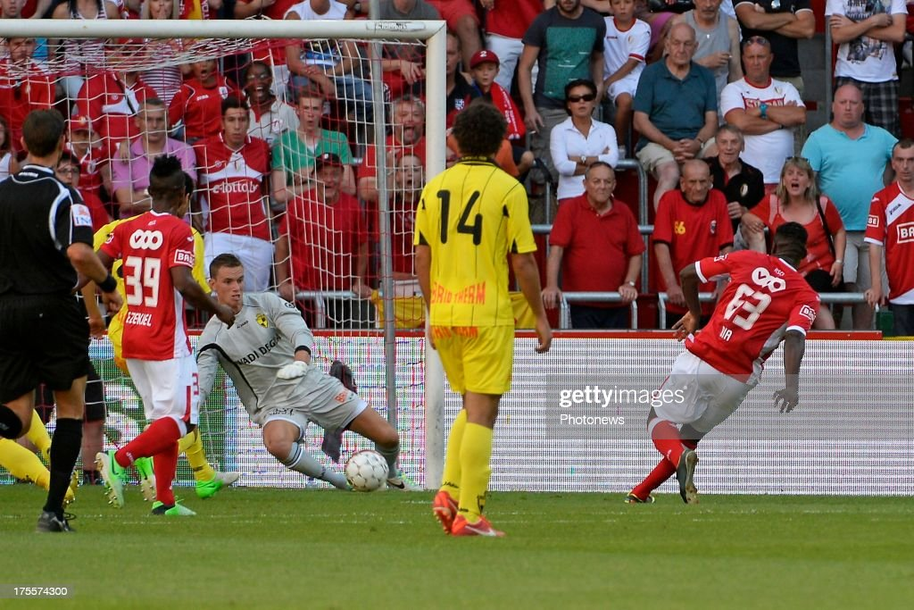 Mujangi Bia of Standard scores pictured during the Jupiler League match between Standard Liege and SK Lierse on Augustus 4, 2013 in Liege, Belgium. (Photo by Vincent Kalut & Jimmy Bolcina / Photonews