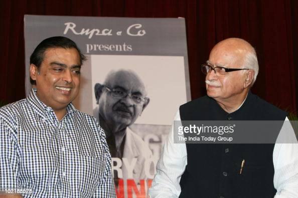 Mukesh Ambani and LKAdvani during Nana Chudasama's Book History on Banner launch in Mumbai on Thursday June 17 2010