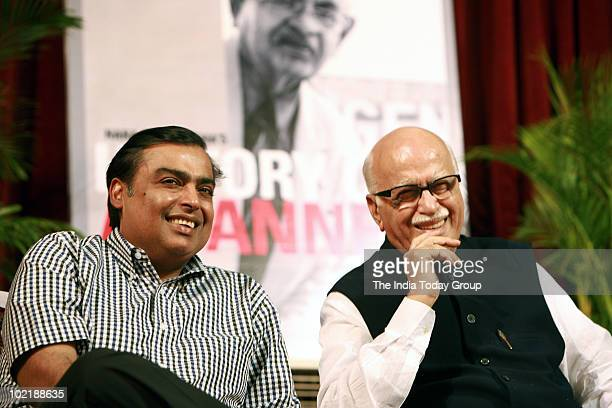 Mukesh Ambani and LKAdvani during Nana Chudasama's Book History on Banner launch in Mumbai on Thursday June 17 2010